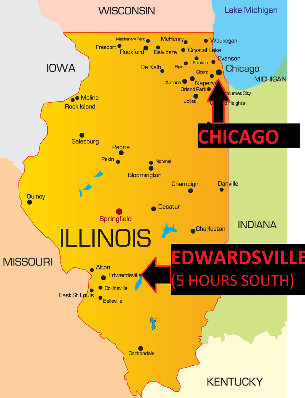 Map showing Chicago and Edwardsville, IL
