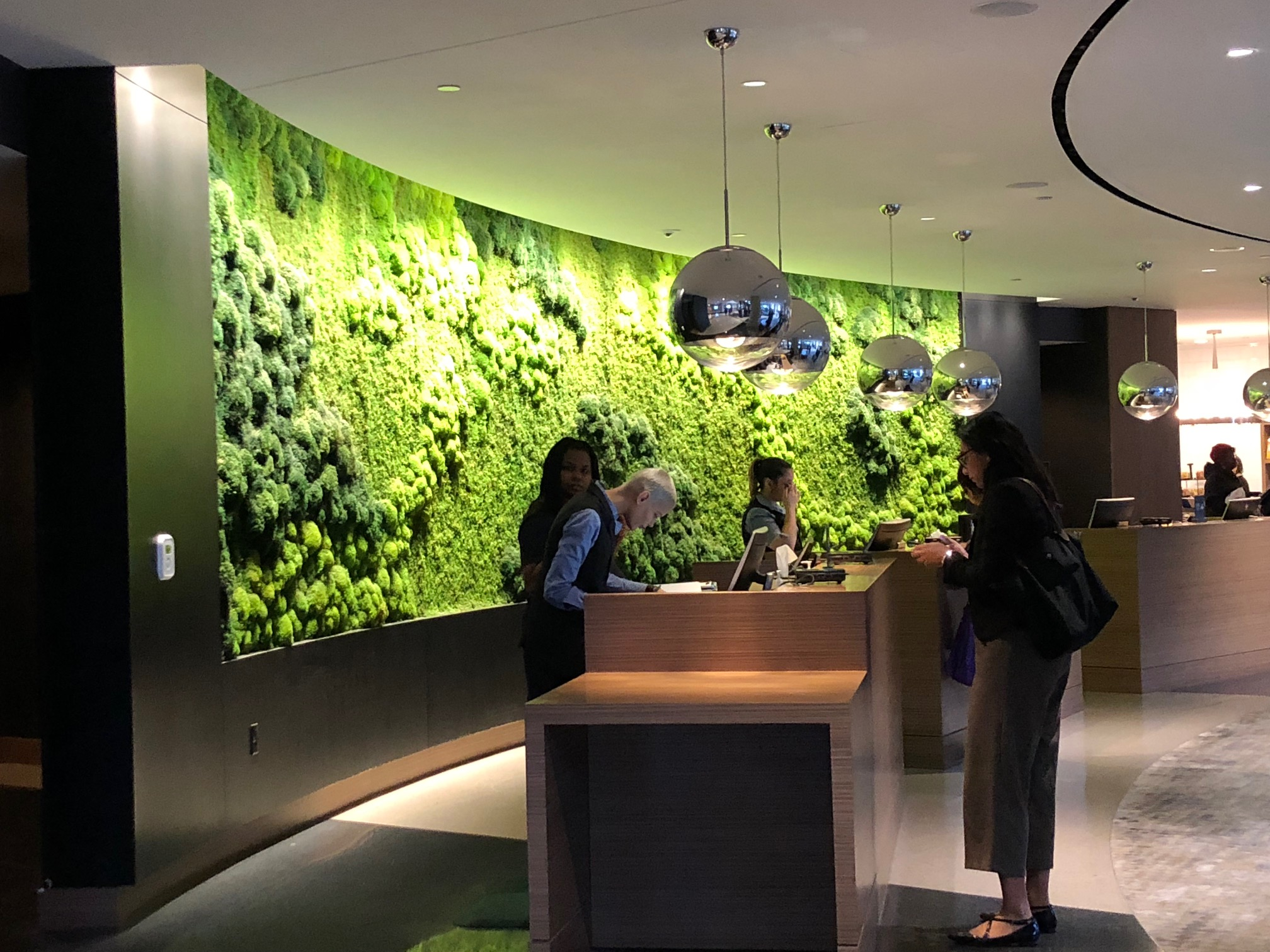 The Moss Wall at Hilton front desk