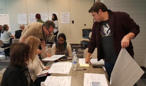 Participants using data placemats.
