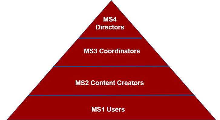 Pyramid with MS1 users (at base), MS2 Content Creators, MS3 Coordinators, MS4 Directors (top)