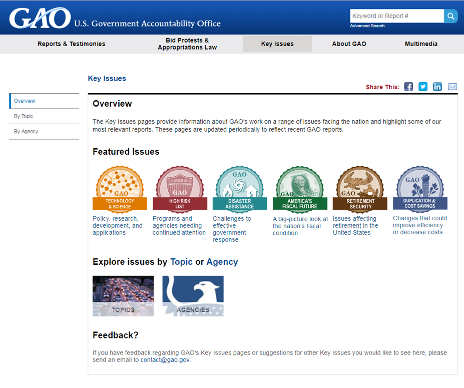 GAO Key Issues web page screenshot