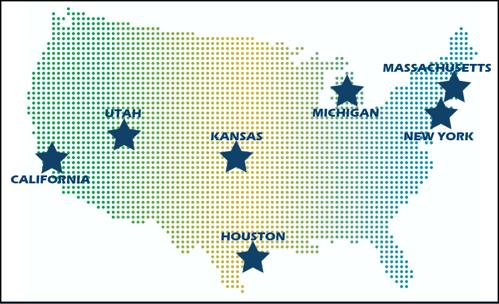 US map with stars on CA, UT, KS, MI, MA, NY and Houston, TX