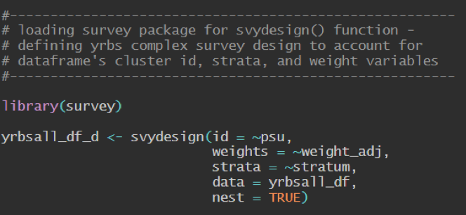 Picture of coed used; svydesign() function to specify the survey's sampling design