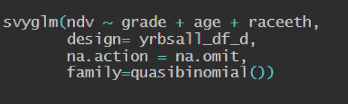 "series of code with line ""design = yrbsall_df_d"""