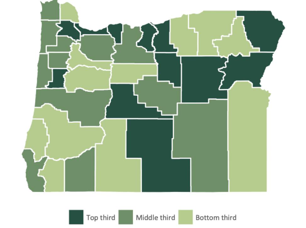 Heat map of Oregon counties