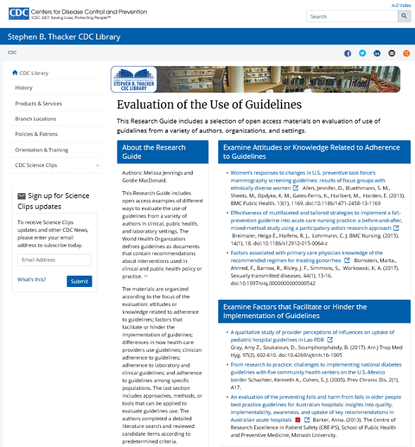 Evaluation of the Use of Guidelines screenshot
