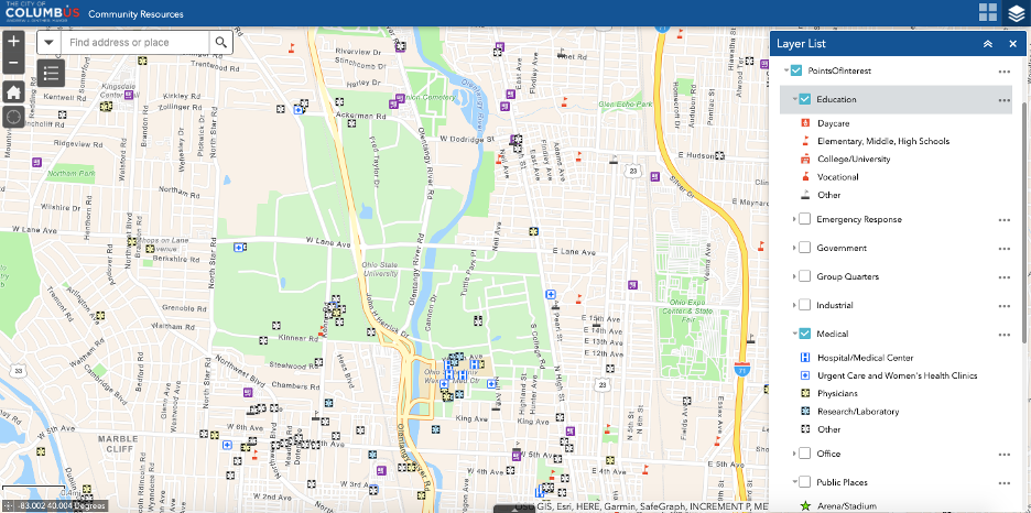 map author created of the schools, hospitals, and other services where she lives, from the city's mapping tools.
