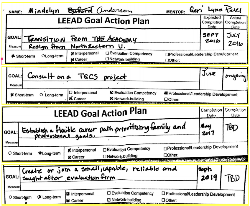 Mindelyn Anderson's handwritten LEEAD short- and long-term goals co-developed with Geri-Lynn Peak circa 2016