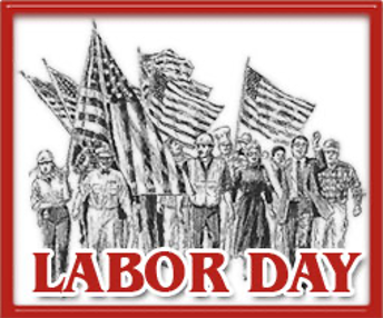 Labor Day graphic; People holding American Flags