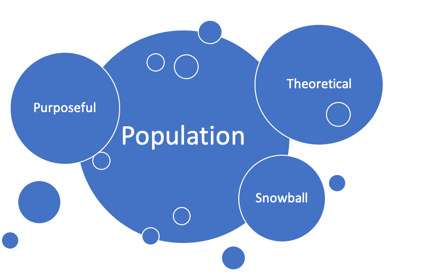 Diagram showing population in center with theoretical, purposeful and snowball outside of it.