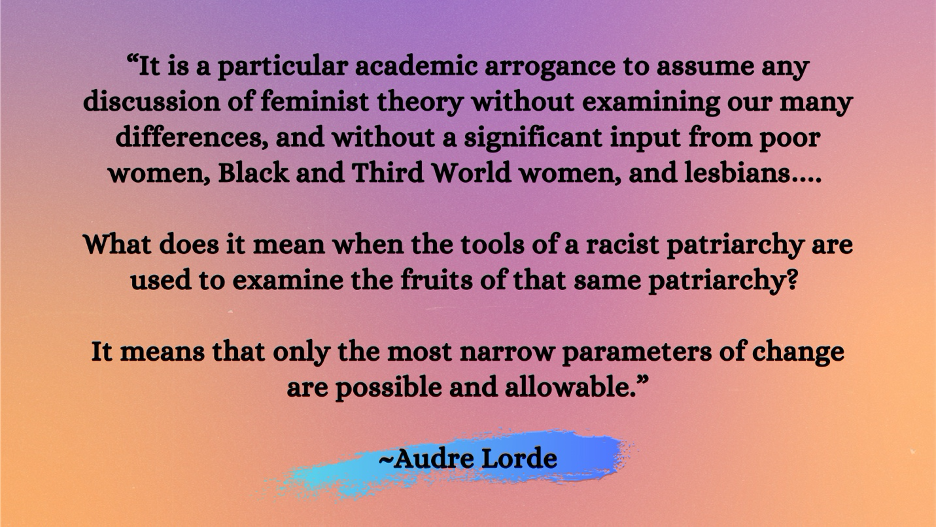 """Audre Lorde quote that begins """"it is a particular academic arrogance to assume any discussion of feminist theory... """""""