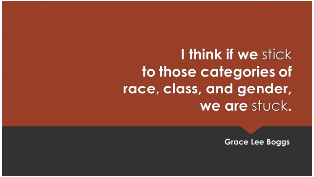 """""""I think if we stick to those categories of race, class, and gender, we are stuck."""" - Grace Lee Boggs"""