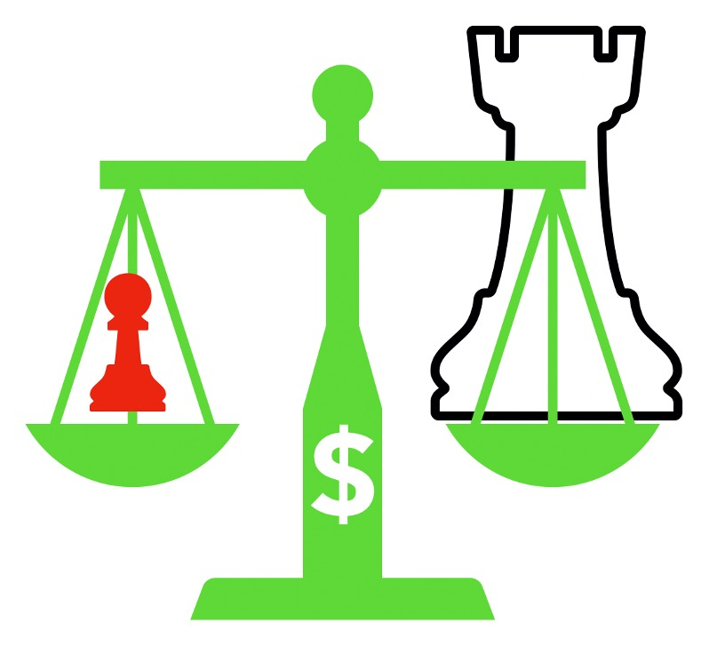 Icon image of a scale with chess pieces -  a small pawn on the left side and a large rook on the right, and a dollar sign on the scale.