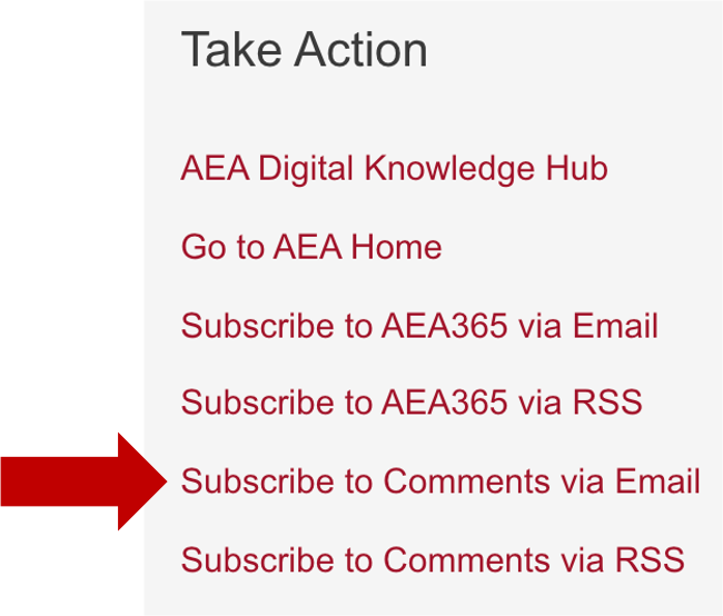 """Screenshot of the """"take action"""" section where readers can subscribe to the blog and comments."""