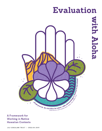 """Evaluation with Aloha illustration of a hand with flowers and the words """"A Framework for Working in Native Hawaiian Contexts"""""""