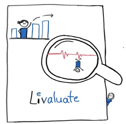 """Cartoon drawing by the author with magnifying glass and stick figures with the word """"Livealuste"""""""
