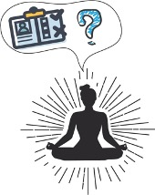 Illustration of someone sitting cross-legged with a speech bubble that has a clipboard and a question mark in it.