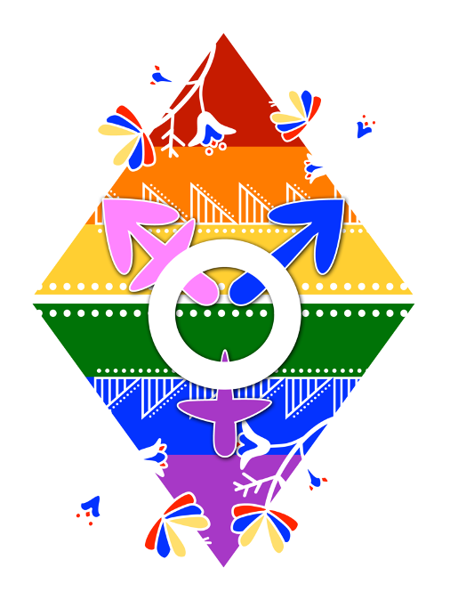 logo that combines the colors of LGBTQ+ pride, symbols of trans identity, and traditional Native pottery designs and floral patterns