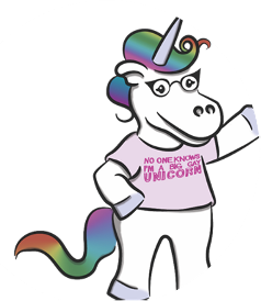 """Cartoon drawing of a unicorn with a t-shirt that says """"No one knows I'm a big gay unicorn."""""""