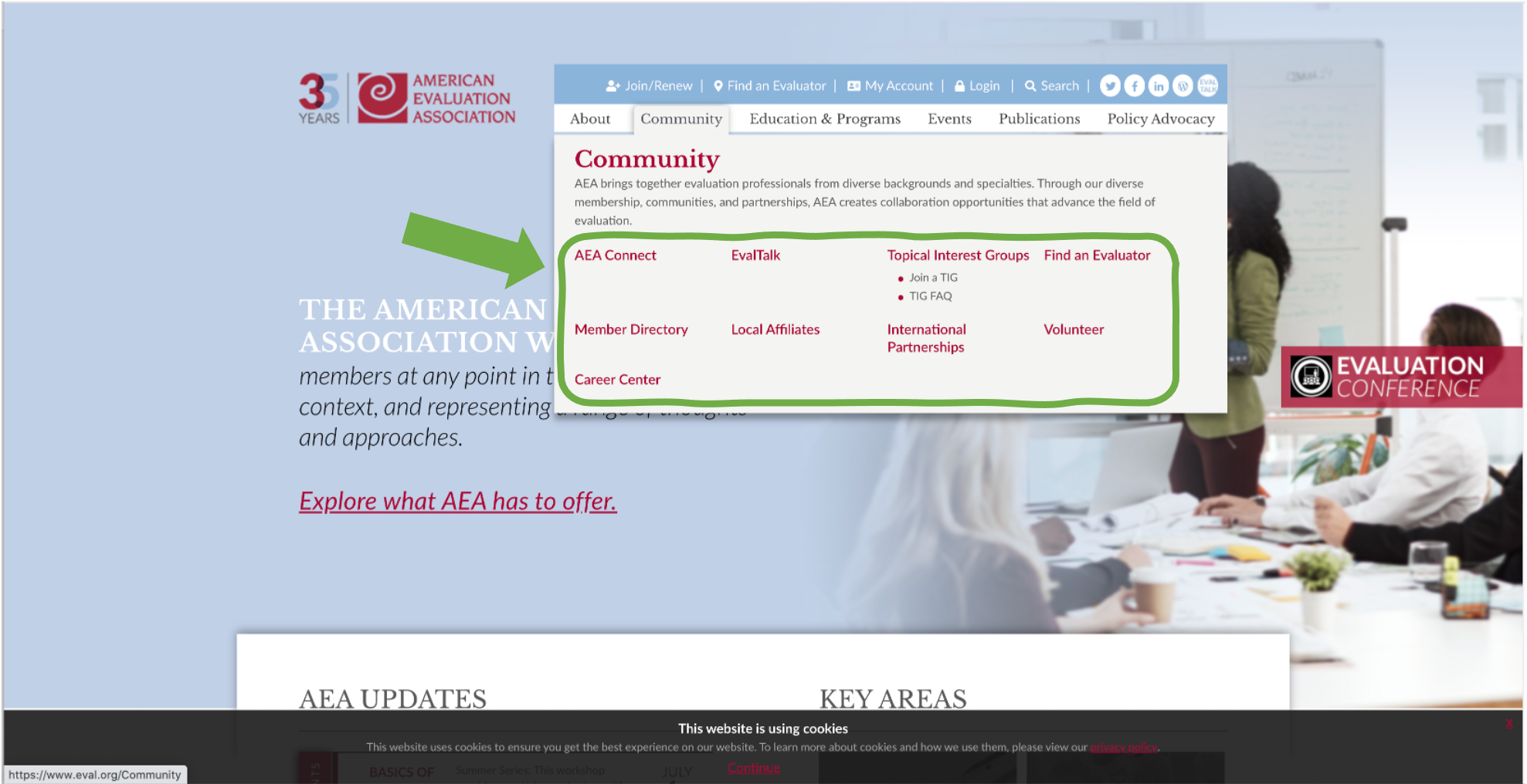 Screenshot of eval.org site with Community selected.