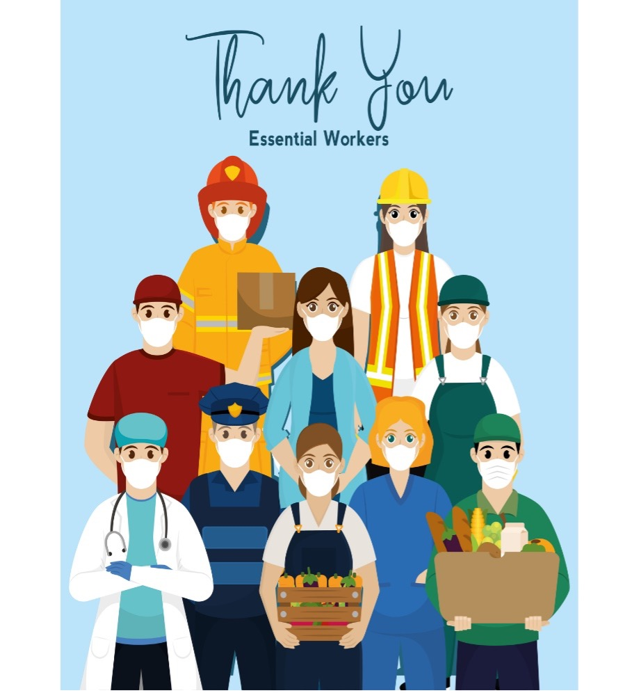 Thank you Essential Workers illustration of essential workers all wearing masks