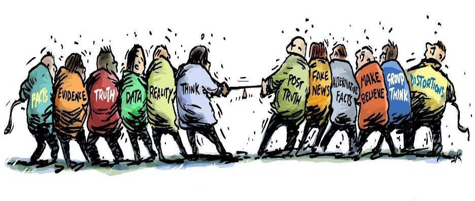 Illustrated characters in tug-of-war with facts, evidence, truth, data, reality, think on the left side of the rope and post-truth, fake news, alternative facts, make believe, group think, snd distortions, on the right side of the rope.