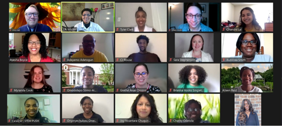 Image of 20 STEM Program Evaluation Lab faculty and students on a Zoom session