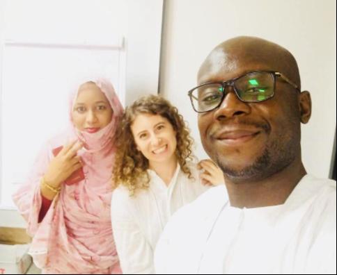Daniella, Aboudou, and YMP Nouakchott Coordinator Nana Venvouna Mint Jeddou during a technical training