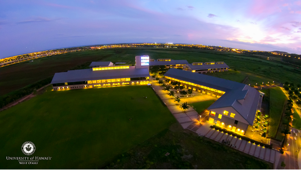 Overhead view of UHWO campus at night