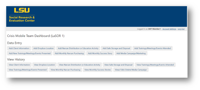Example of a Knack home page with multiple forms and reports.