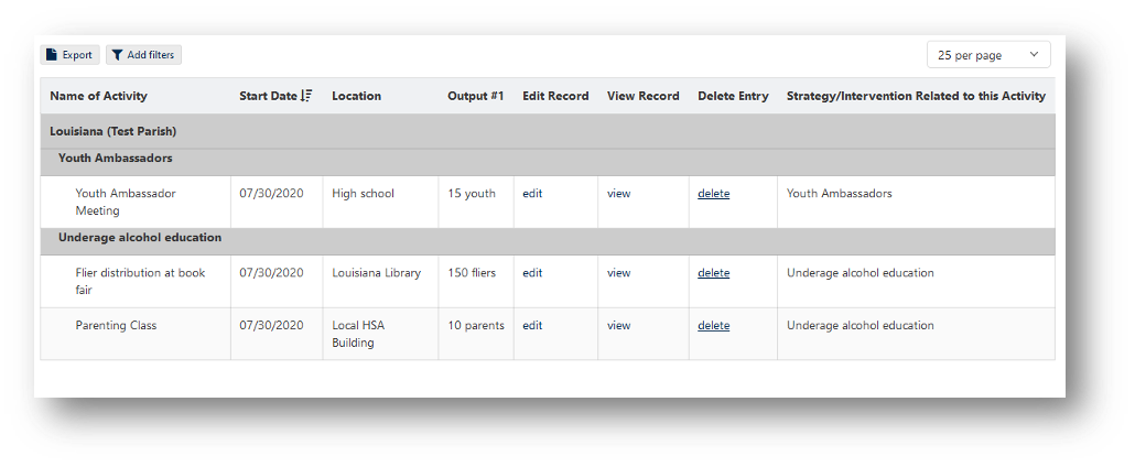 Example of Knack table displaying data tailored to the logged-in user.