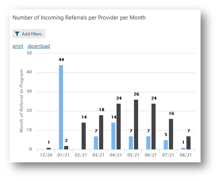 Example of a graph summarizing referrals per provider