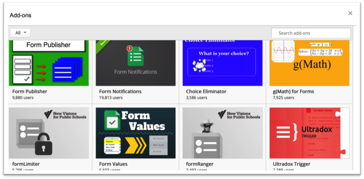 Figure 2. Example Add-ons for Google Forms (screencapture from the Google Drive Add-ons Store).