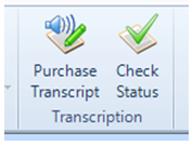 purchase transcript and check status buttons