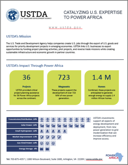 "image of USTDA ""Catalyzing US Expertise to Power Africa"" infographic"