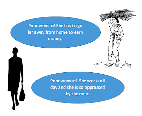Two images of women in different work contexts accompanied by two blue text bubbles with opinion on oppression