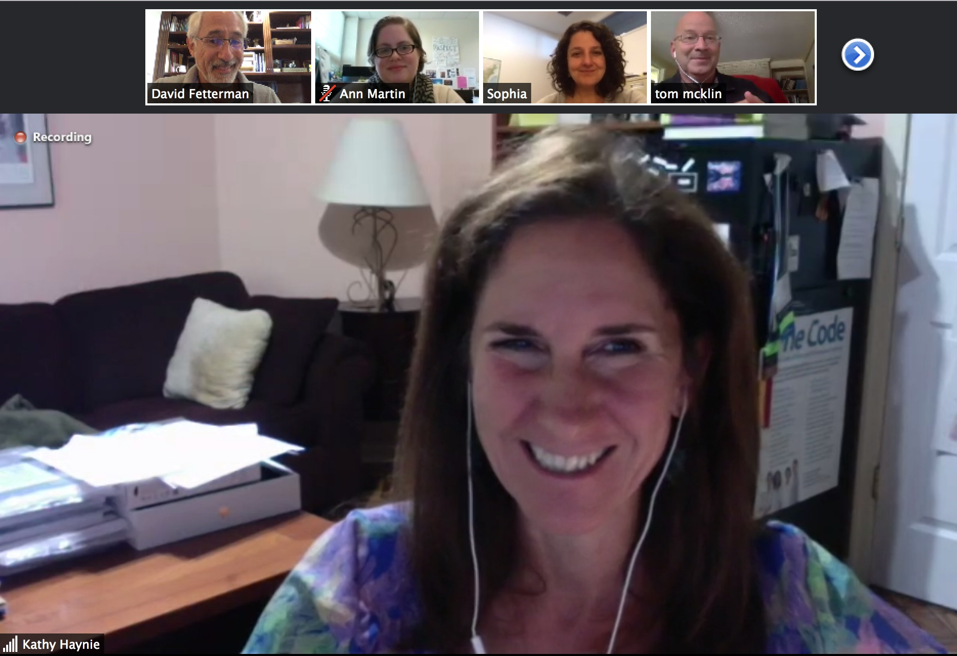 Kathy Haynie (Haynie Research and Evaluation) Remotely Facilitates Bi-monthly Meetings