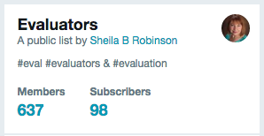 evaluators on twitter list & number of subscribers